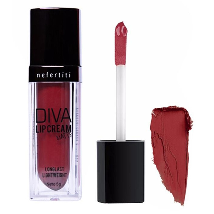 "alat make up Nefertiti Paris Diva Lip Cream Matte ""Dark Carmine"""